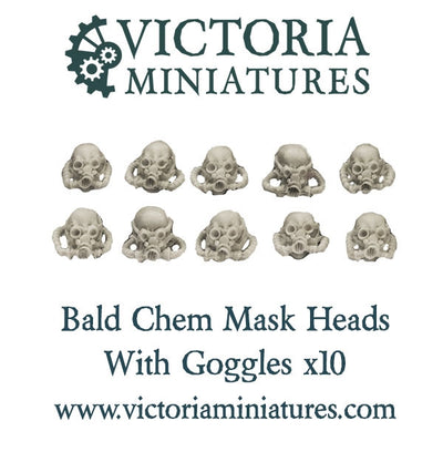 Bald Chem Mask Heads with Goggles x10