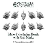 Male Pickelhelm Heads with Gasmask x10