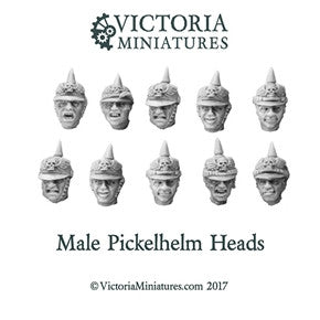 Male Pickelhelm Heads x10