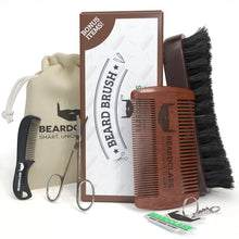 Beard Brush and Wooden Comb Kit - Bonus Mustache Comb and Nose Scissors