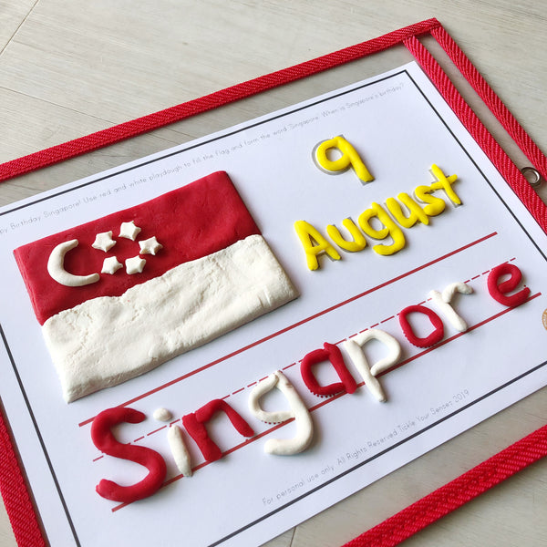 National Day Singapore Playdough Mat Printable
