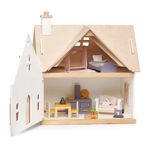 Cottontail Dollhouse Cottage w/ retro accessories