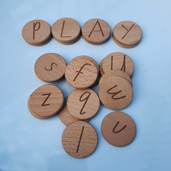 Wood Discs Letters & Numbers (from Australia)