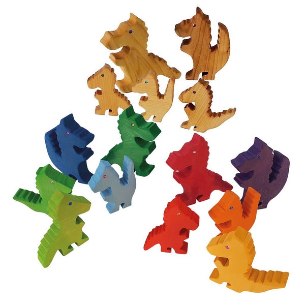Bauspiel Natural Wood Dragons w Jewels (Set of 5) *In Stock*