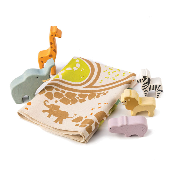 Safari Playmat with 5 Sturdy Wood Animals