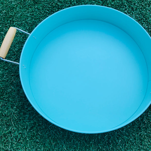 Turquoise Play Tray with Wood Handles