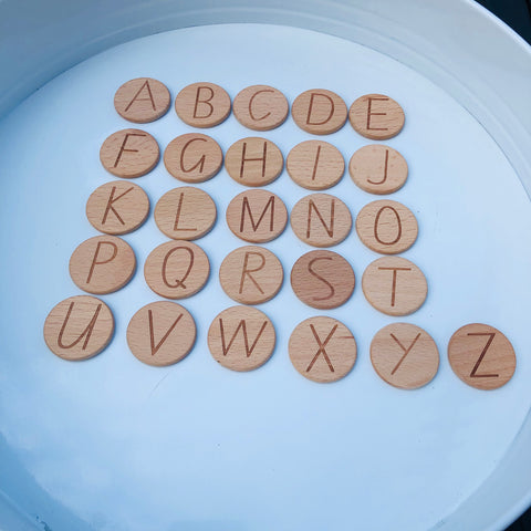 Wood Discs Letters & Numbers