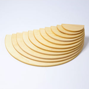 Grimms 11 piece Large Rainbow Semicircles (Natural wood Color)  *in stock*