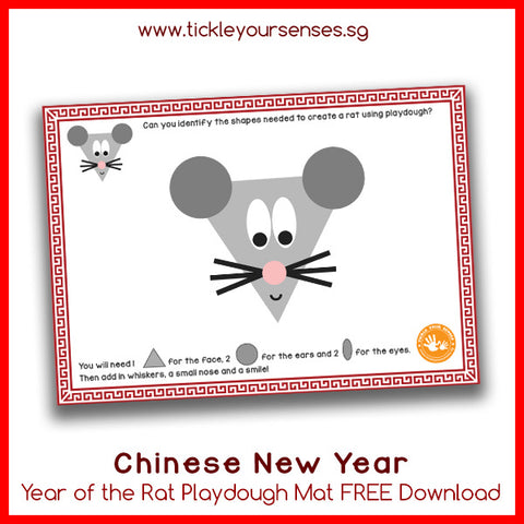 Chinese New Year Rat Playdough Mat Printable