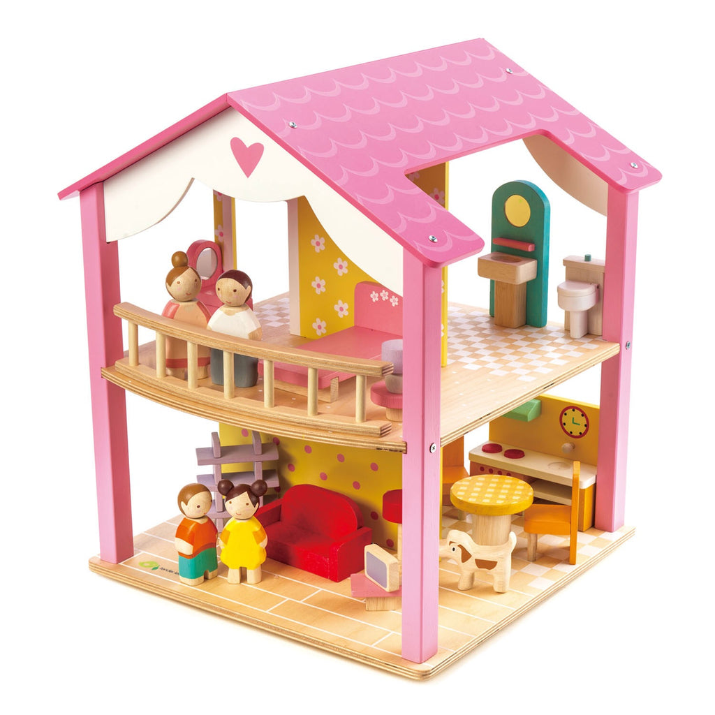 Pink Leaf Family House w/ accessories (on a swivel base)