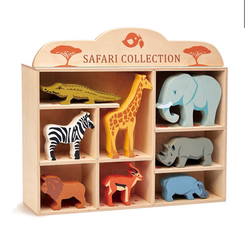 Safari Animals + Display Wood Shelf with Footprints *new in 2020*