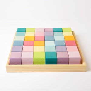 Grimms Square 36 Rainbow Cubes (Pastel)  *in stock*