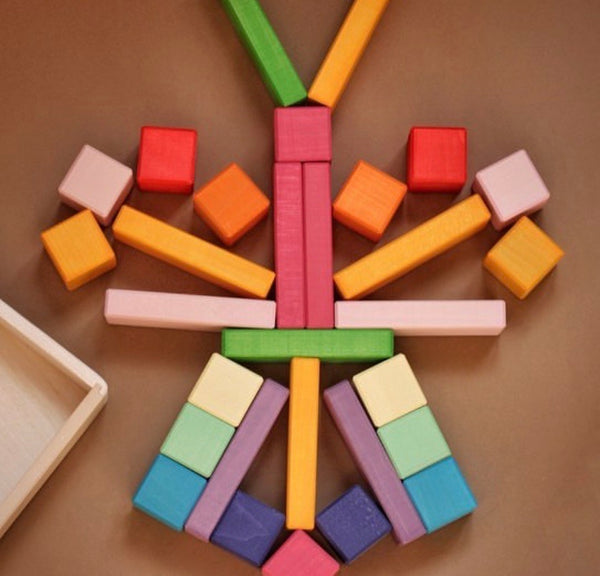 Rainbow Pastel Blocks & Bricks Set