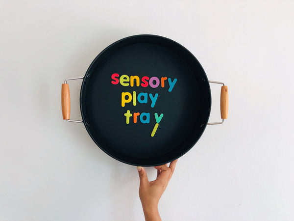 Black Play Tray with Wood Handles