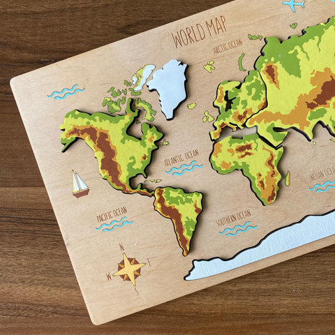 World Map Puzzle (Handpainted)