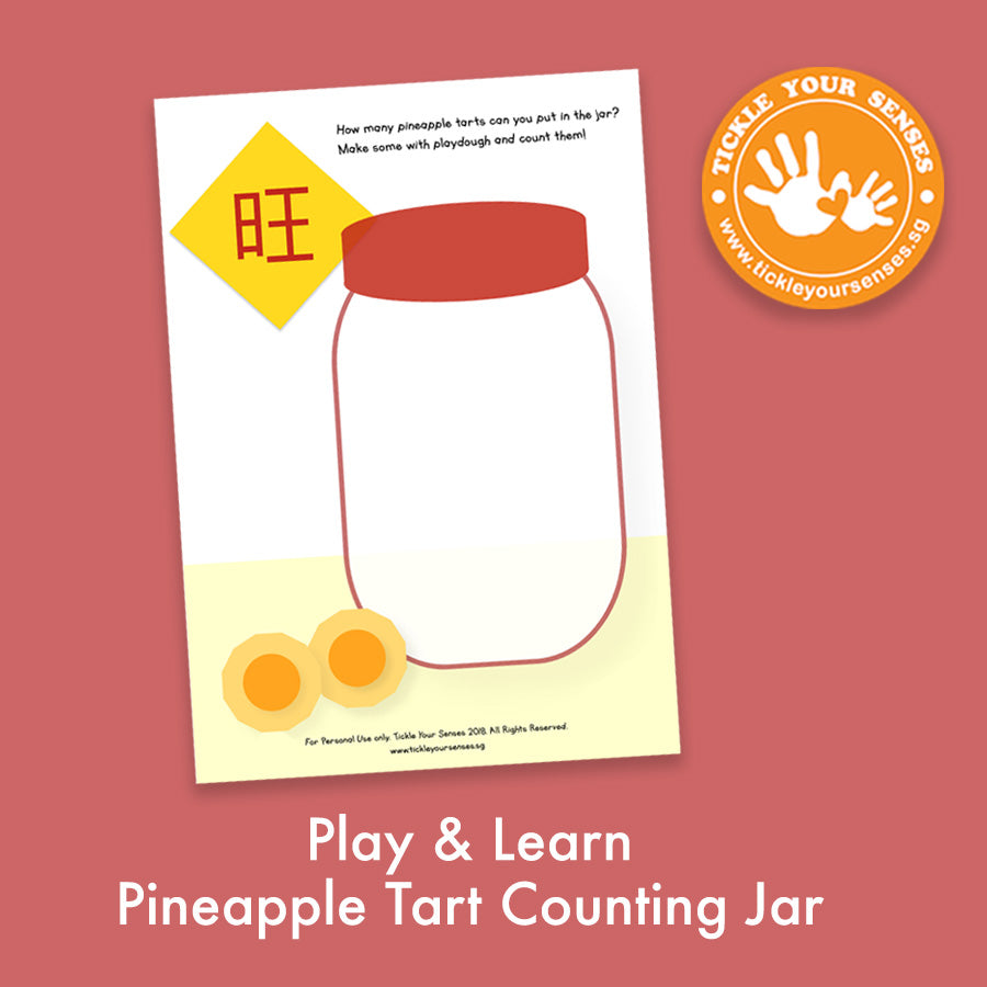 Pineapple Tart Counting Jar Playdough Mat Printable