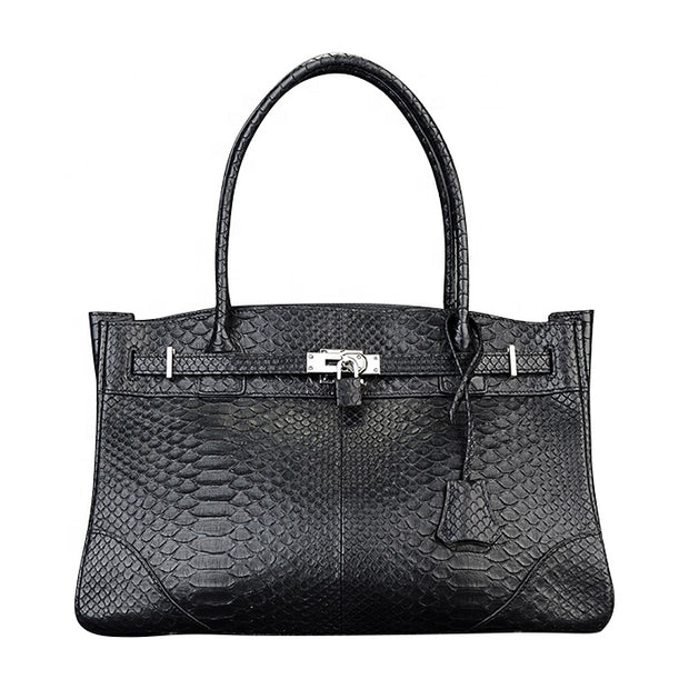 Luxury Black Python Snakeskin Women's Leather Handbag - jranter