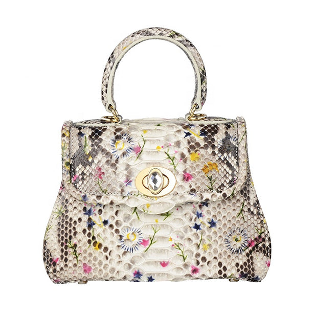 Custom Women Authentic Pyhthon Snake Skin Leather Vintage Handbag With Flower Print - jranter