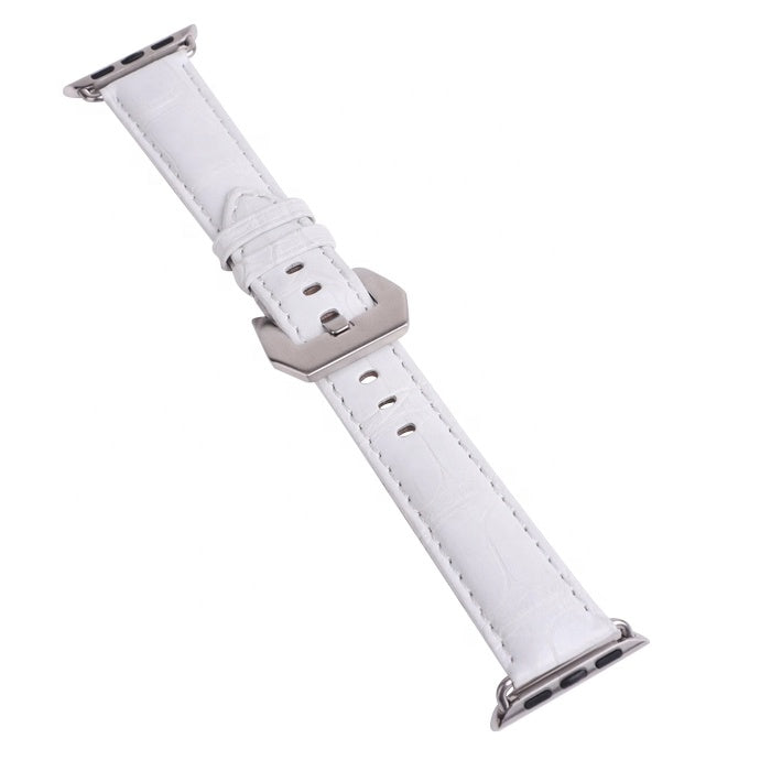 White Crocodile Leather 20mm Watch Band For Apple Watch - jranter