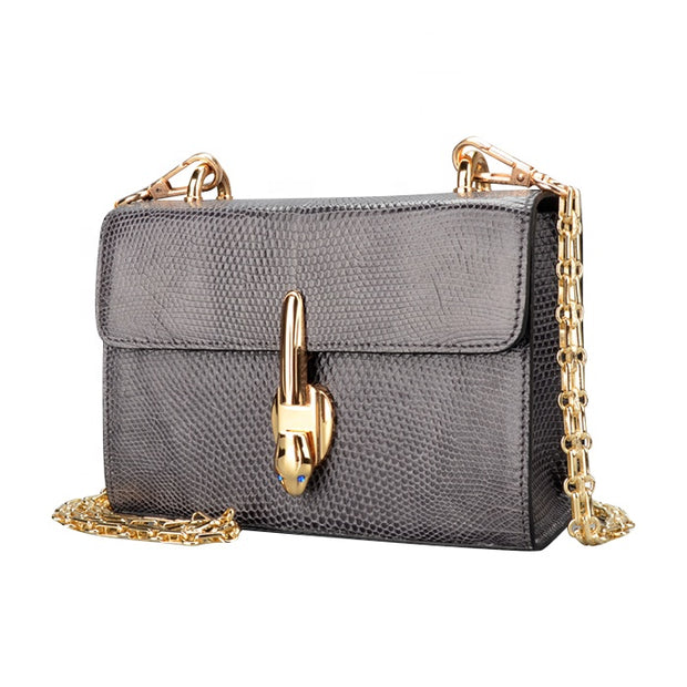 Genuine Lizard Skin Women's Mini Evening Clutch Chain Bag - jranter