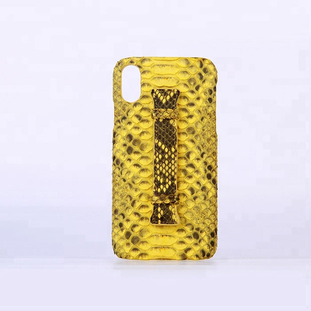 Custom genuine python leather case for iphone x with handle - jranter