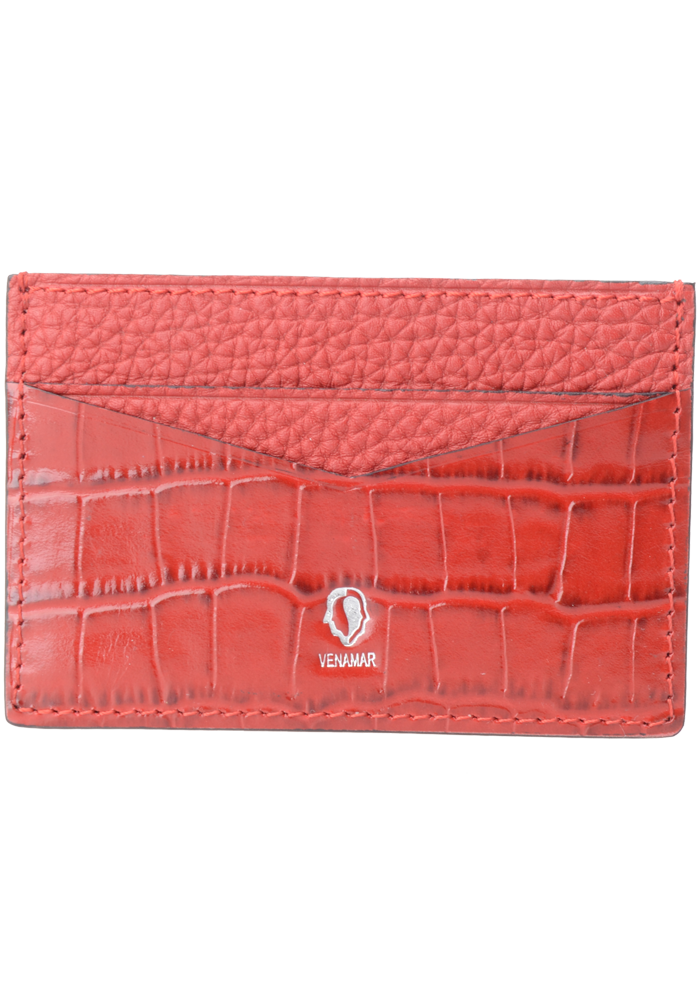 Red Croc Pattern Card Holder - jranter