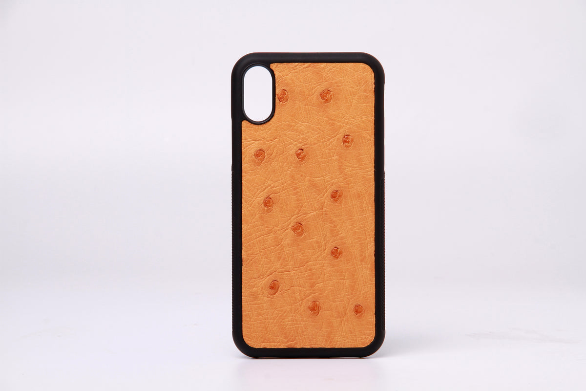 Real Ostrich Leather iPhone X Cover - jranter
