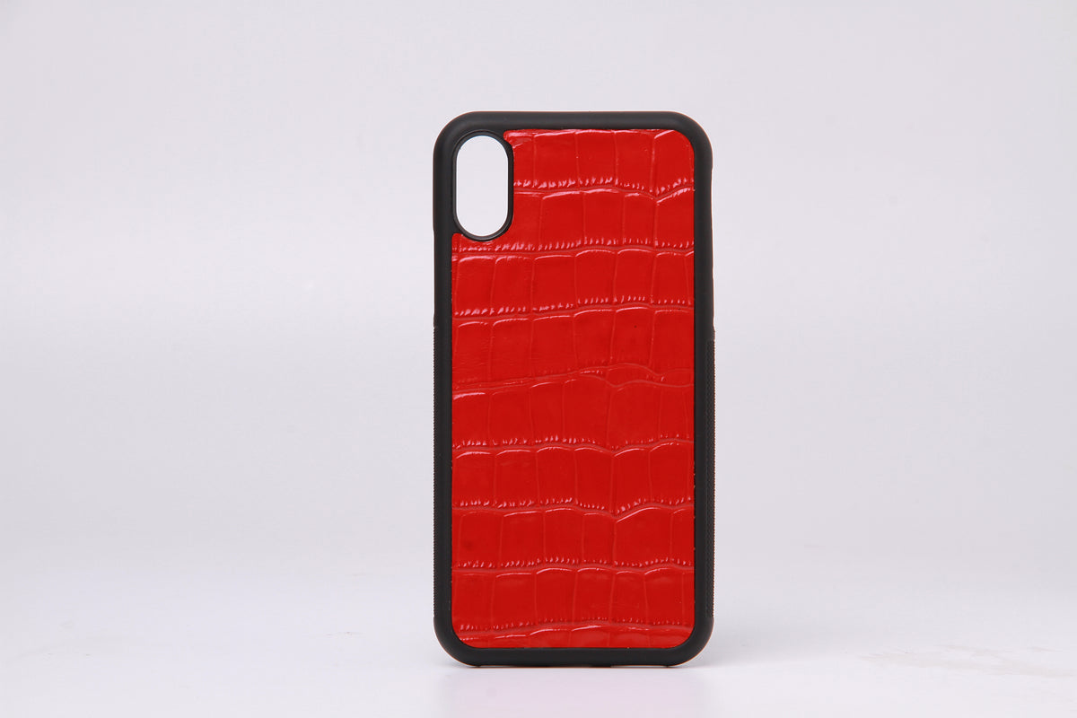 Embossed Croc  Leather Phone Cover For iPhone X - jranter