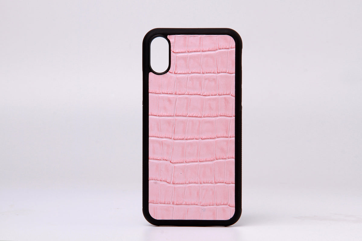 Pink Embossed Croc Leather Phone Case For iPhone X - jranter