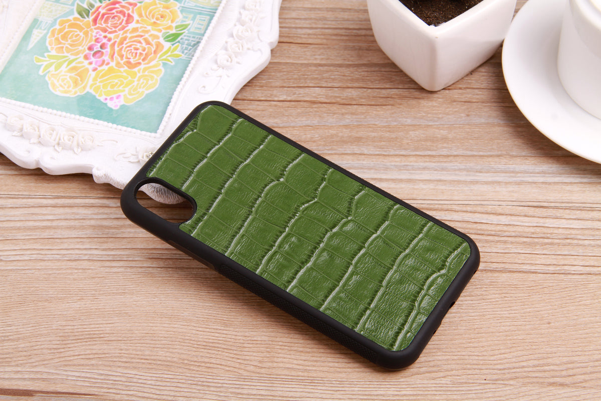 Embossed Croc Leather iPhone X Cover - jranter