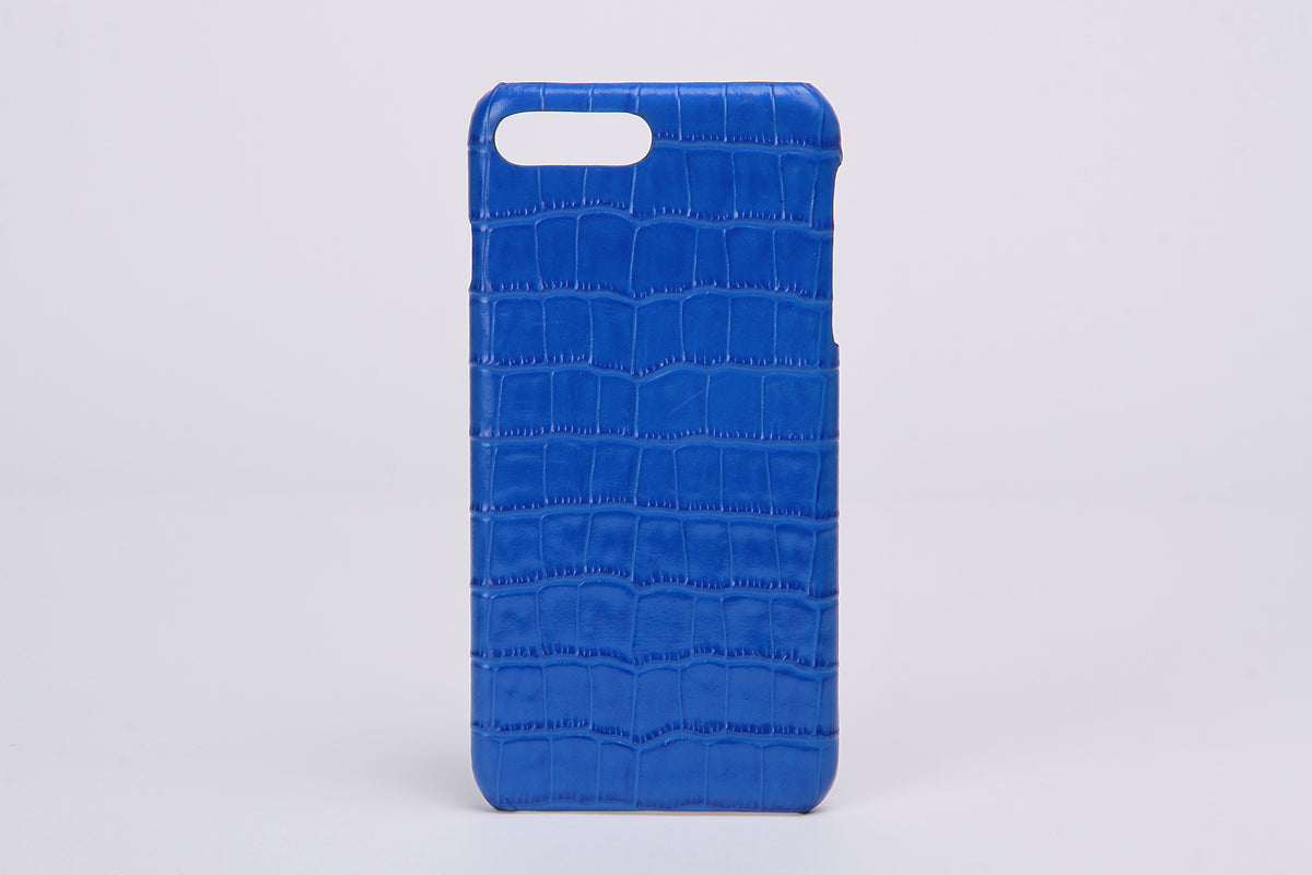 Blue Embossed Croc Leather iPhone 7/8 Plus Case - jranter