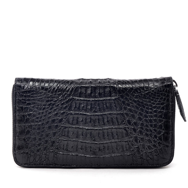 Black Men Croc Zipper Wallet - jranter