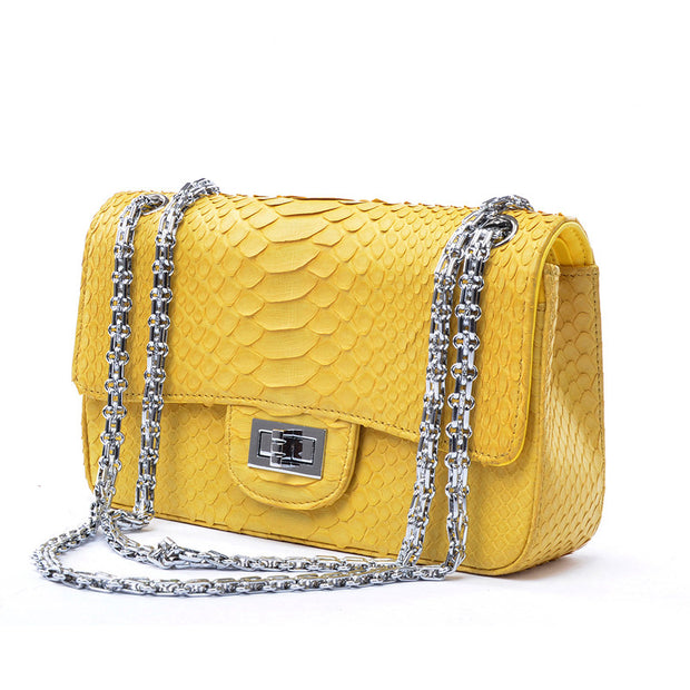 Women Real Python Leather Chain Bag