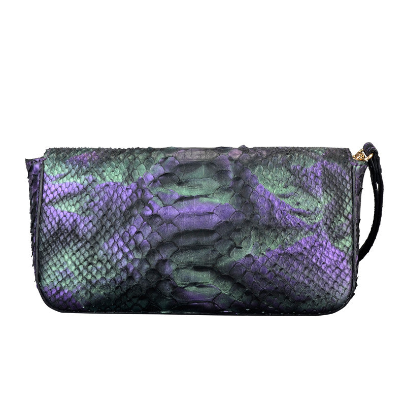 Python Leather Women Clutch Bag