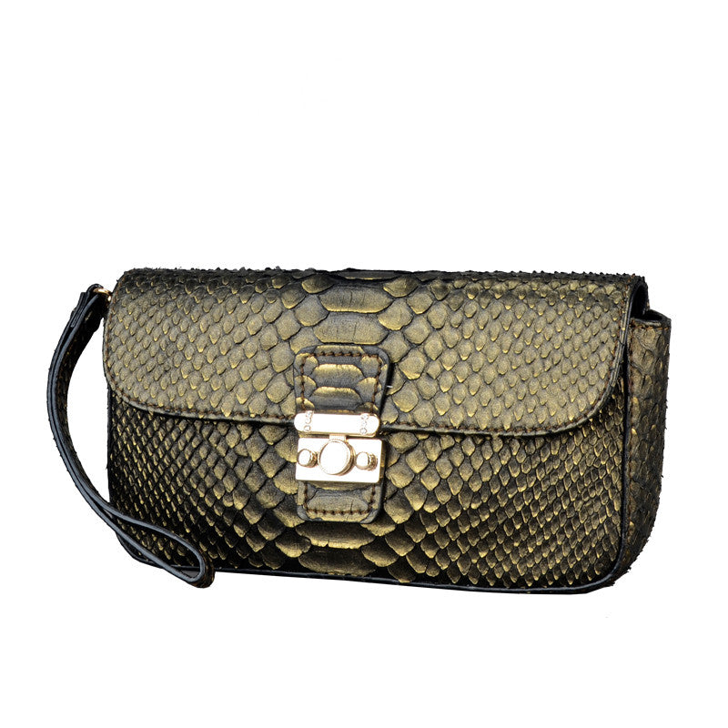 Python Leather Women Clutch Bag - jranter