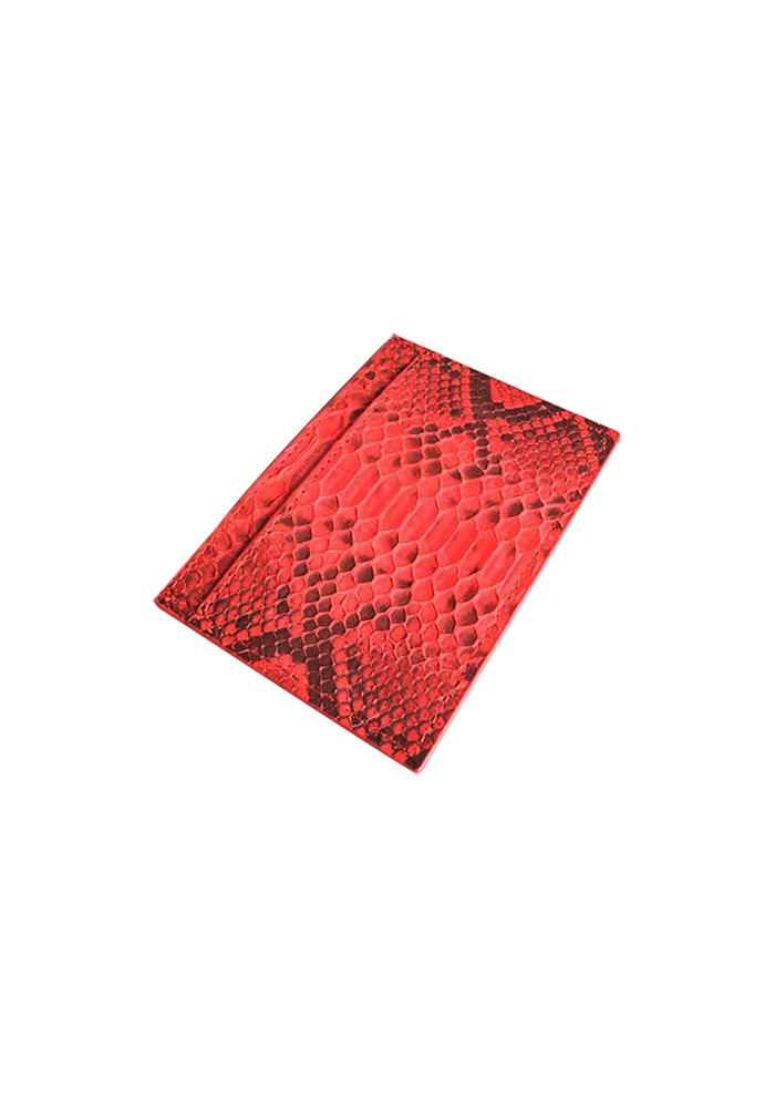 Red Real Python Skin Card Holder - jranter
