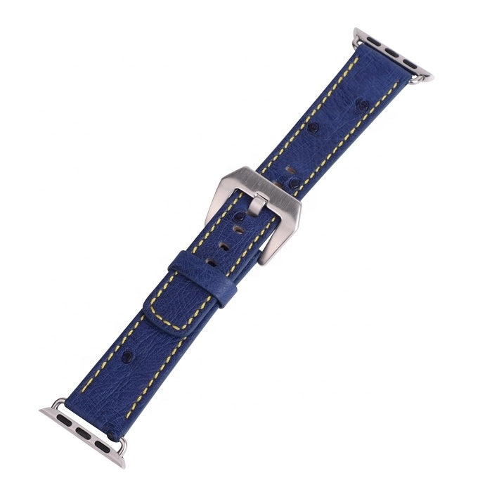Real Ostrich Skin 20mm/22mm /24mm Leather Watch Strap For Apple - jranter