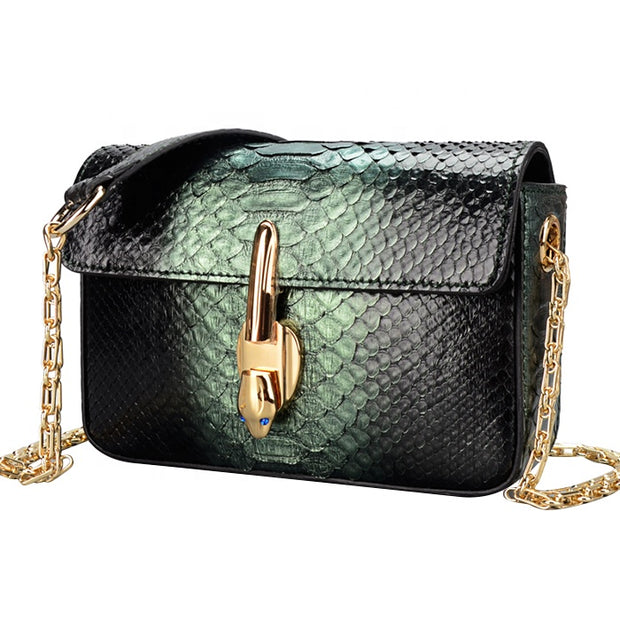 New Design Authentic Ptyhon Snake Skin Women's  Evening Bag With Chain - jranter
