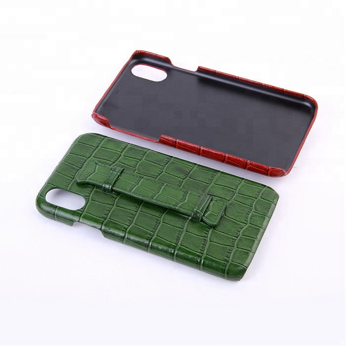 High quality crocodile embossed leather mobile phone case for iPhone 7/8/X with handle - jranter