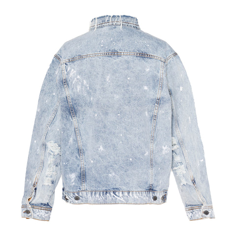 INDIGO PAINTER AND NECK DISTRESSED 5 PIECE JACKET
