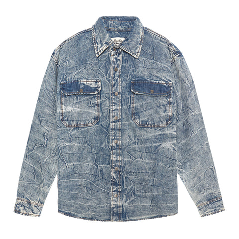 INDIGO CREASE OVERSIZED DENIM SHIRT