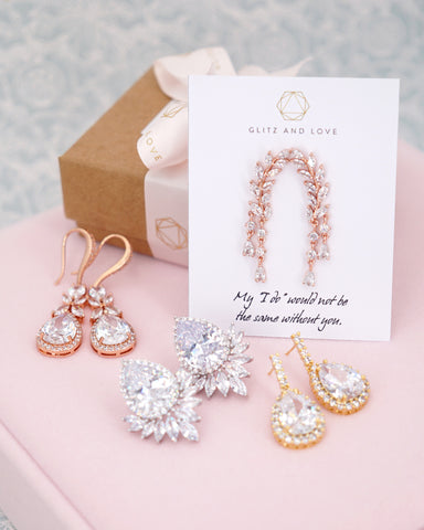Glitz & Love | Wedding and Bridal Earrings for Brides and Bridesmaids