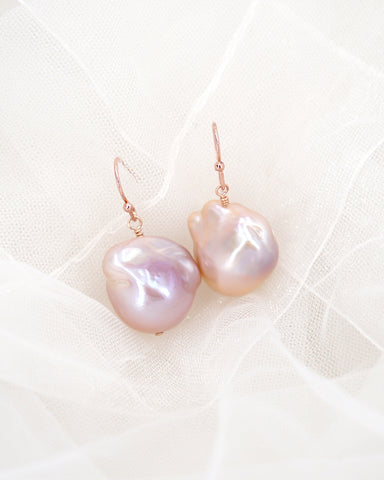 Glitz & Love | Freshwater Pearl Rose Gold Earrings | Flameball Baroque Pearls