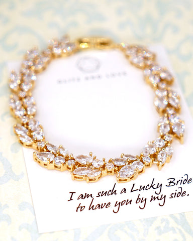 Glitz & Love | Bridal Bracelet for Brides and Bridesmaids | Wedding Jewelry | Bridal Shower Gifts | Personalised Gift Notes