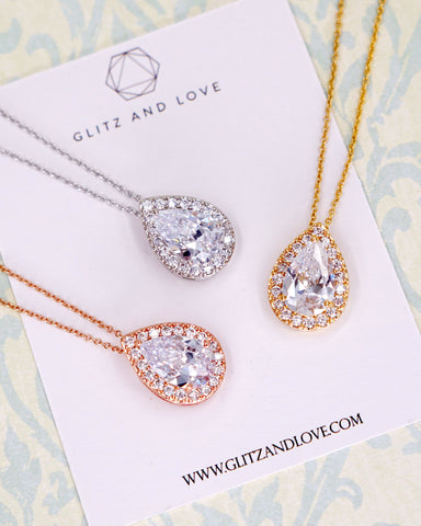 Glitz & Love | Bridal Necklace for Brides and Bridesmaids | Wedding Jewelry for Timeless Elegant Confident Woman
