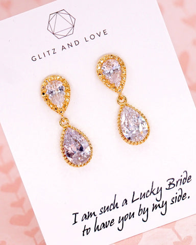 Gold Cubic Zirconia Teardrop Earrings
