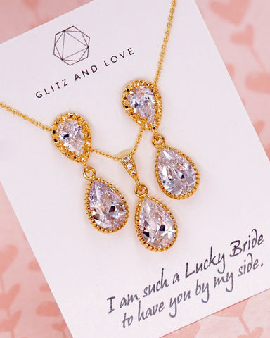 Gold Cubic Zirconia Teardrop Jewelry Set
