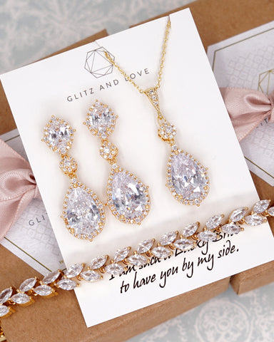 Yellow Gold CZ Jewelry Set