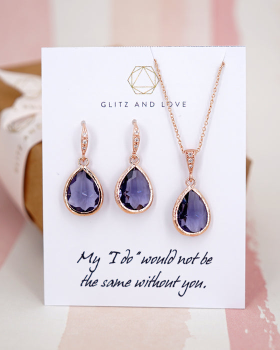 Rose Gold Tanzanite Teardrop Earrings and Necklace