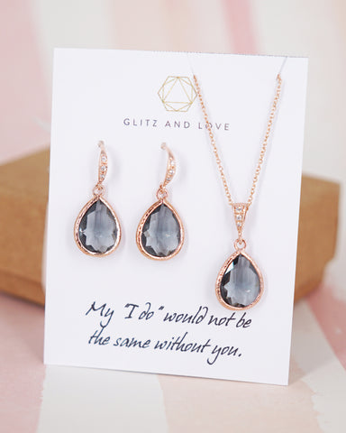 Rose Gold Black Diamond Teardrop Earrings and Necklace